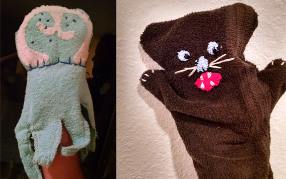 Native aquatic animal bath time handpuppets. Check. Jellyfish (Cnidaria) and Sea Otter (Enhydra lutris)