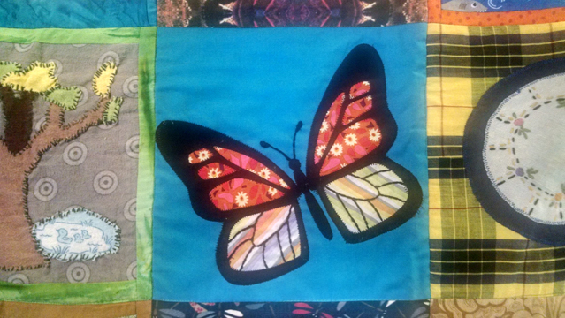 Handmade community quilt with key native animals? Check. I did a monarch butterfly (Danaus plexippus).